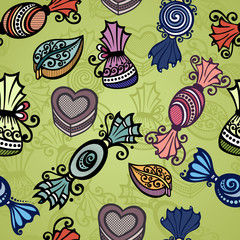 Vector Seamless Pattern with Ornate Candies. Patterned design