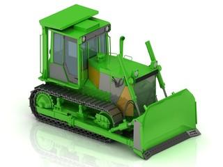 Crawler with a green hydraulic shovel