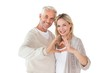 Happy couple forming heart shape with hands - 68988341