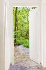 Door to green nature