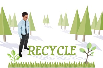 Recycle against forest with earth tree