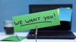 Leinwanddruck Bild - We want you written