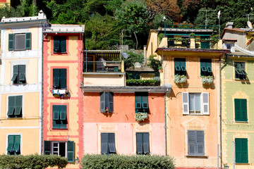 Portofino detail of colorful houses