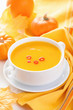 canvas print picture - pumpkin soup in white bowl