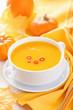 canvas print picture - pumpkin soup in white bowl