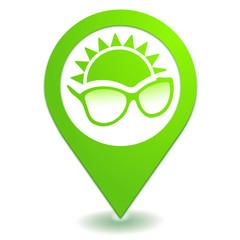 lunettes de soleil sur symbole localisation vert