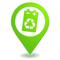 recyclage des piles sur symbole localisation vert