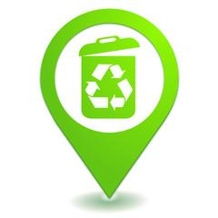 recyclage poubelle sur symbole localisation vert