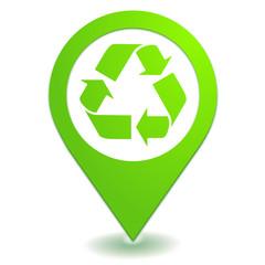 recyclage sur symbole localisation vert