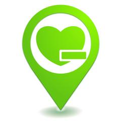 retirer des favoris sur symbole localisation vert