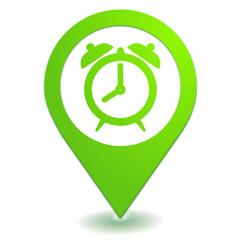 réveil alarme sur symbole localisation vert