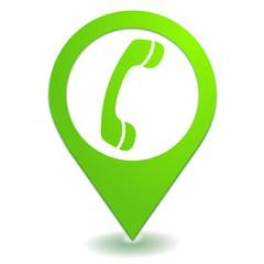 téléphone sur symbole localisation vert