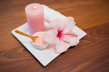 Spa objects on wooden floor