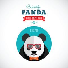 Weekly Panda Cute Flat Animal Icon - Hipster