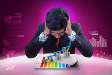 Business man analysing financial growth in percentage