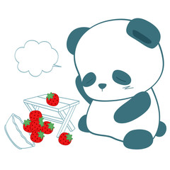 panda and strawberry