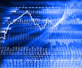 Stock market  Graph on abstract blue background.