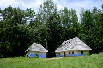 Traditional old rural Ukrainian wattle and daub houses in Pirogo
