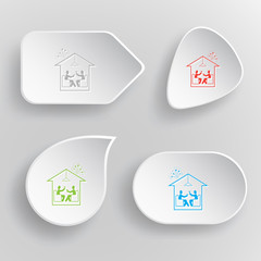 Home celebration. White flat vector buttons on gray background.