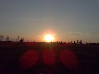 Coucher de soleil sur l'ancien aéroport de Tempelhof