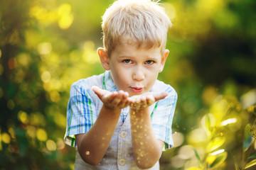 Little boy blows gold glitter from his hands.