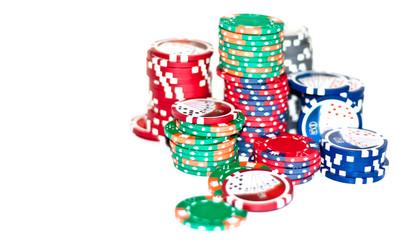 Casino Chips isoliert auf dem weißen Hintergrund
