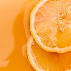 Golden honey with  lemon slice.- medicine from natural