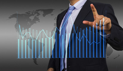businessman with financial chart