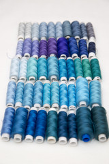 Background of colorful spools of thread