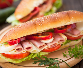 Submarine Sandwich with ham and cheese