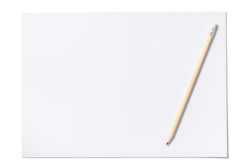 White Sheet and Pencil with Clipping Path