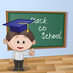 Cartoon Boy wrote in classroom