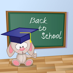 Cartoon Rabbit wrote in classroom