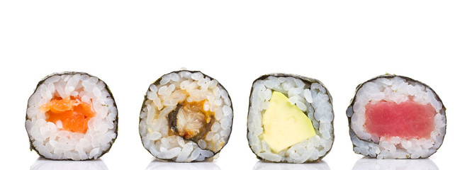 Little sushi maki roll isolated on white background