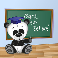 Cartoon Panda wrote in classroom