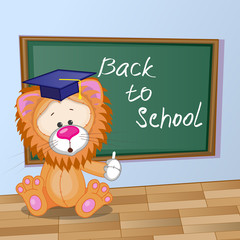 Cartoon Lion wrote in classroom