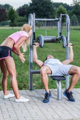 Girl motivates her man