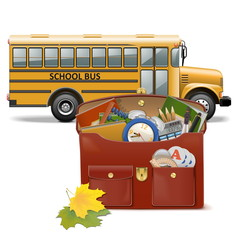 Vector Schoolbag and Bus