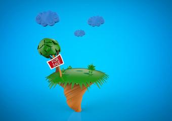 Cartoon funny island  in summer season