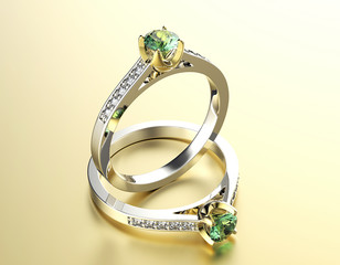 Golden Engagement Ring with Peridot. Jewelry background