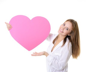 portrait of attractive happy smiling girl with pink heart, love