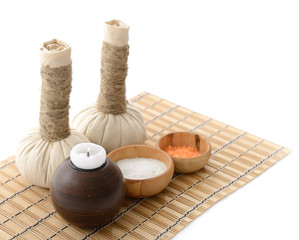 spa still life with spa herbal balls, candlestick, stones and sa