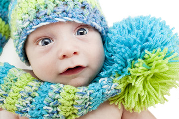 Baby portrait in woolen cap