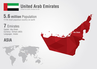 UAE United Arab Emirates world map with a pixel diamond texture.
