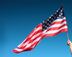 Hand holding american flag