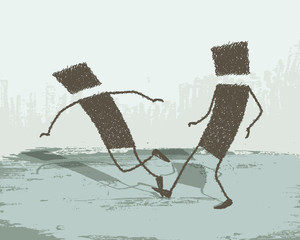 Illustration with two people, it puts a tripped the other