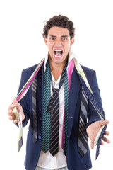 angry man with lot of ties around his neck