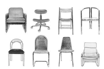 Sessel und Stühle grafisch