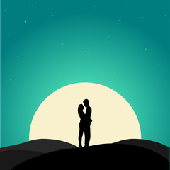 Two enamored under moon, illustration.