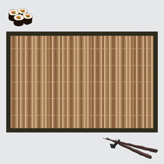 vector illustration sushi on bamboo mat and chopsticks